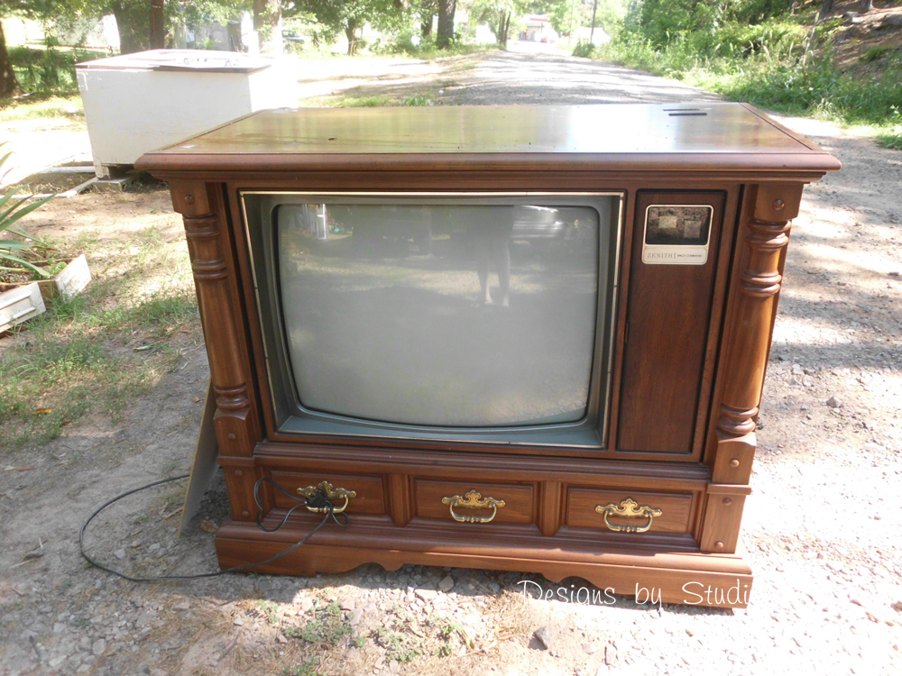 how to revamp an old console tv cabinet. Black Bedroom Furniture Sets. Home Design Ideas