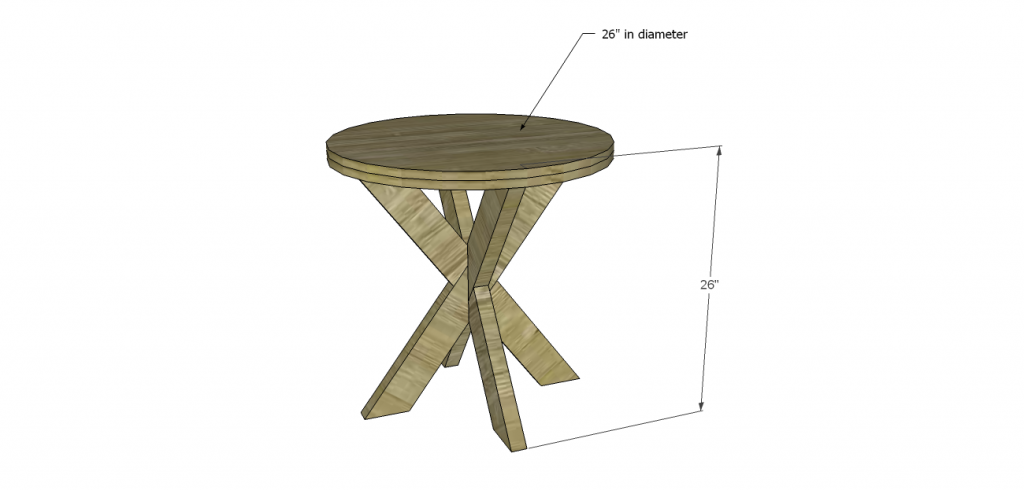 build a round x base end table