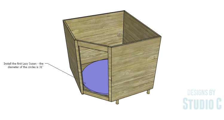 DIY Plans to Build a Diagonal Corner Base Kitchen Cabinet_Lazy Susan 1