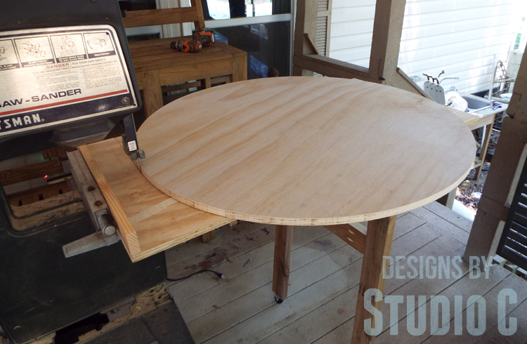 Build a DIY Large Circle Cutting Jig for a Bandsaw - Completed Circle