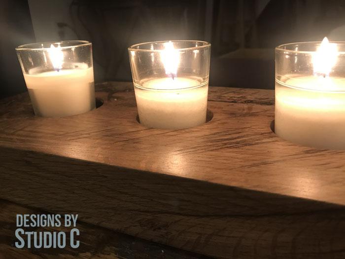 DIY Wood Slab Candle Holder_Candle Light